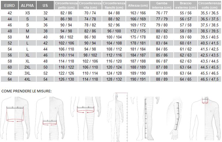 tabella taglie abbigliamento moto uomo dainese