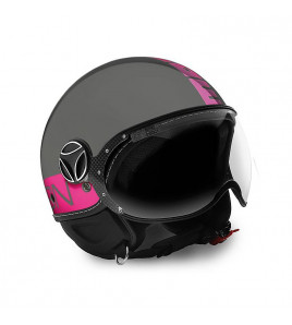 FIGHTER FLUO GREY/FUXIA CASCO JET MOMO DESIGN