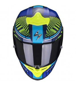 EXO-R1 AIR Victory Blue-Neon Yellow casco integrale Scorpion