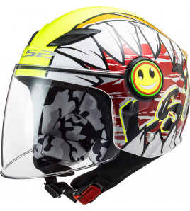 OF602 FUNNY CRUNCH WHITE HI-VIS CASCO JET BAMBINO LS2