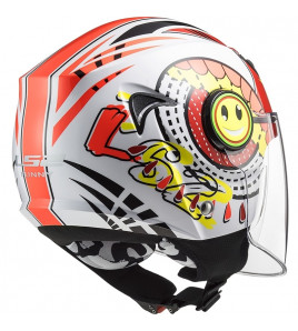 OF602 FUNNY SLUCH RED WHITE CASCO JET BAMBINO LS2